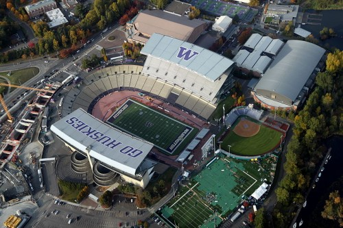 UW Station (under construction at lower left) opens 50 yards from Husky Stadium in 2016