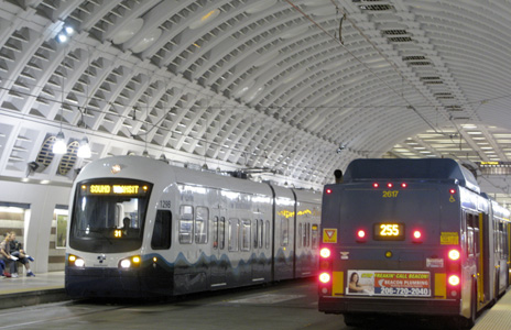 train and bus in tunnel