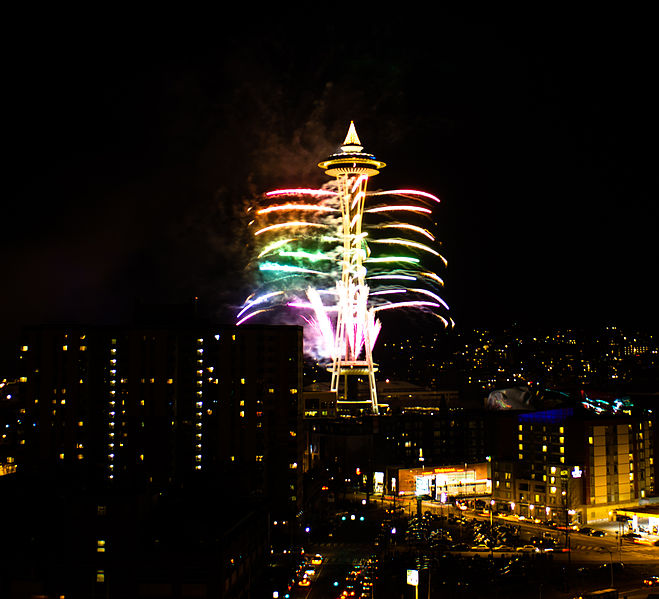 """New Years Fireworks at the Space Needle"""