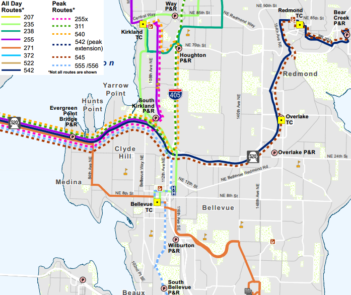 "Revised SR-520 routes (others not shown).  Map by Metro.  Note ""255X"" in legend should read ""256."""