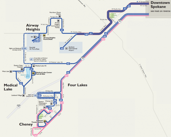 Map of STA Cheney/West Plains service