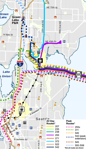 "West side routing of SR-520 routes (others not shown).  Map by Metro.  Note ""255X"" in legend should read ""256."""