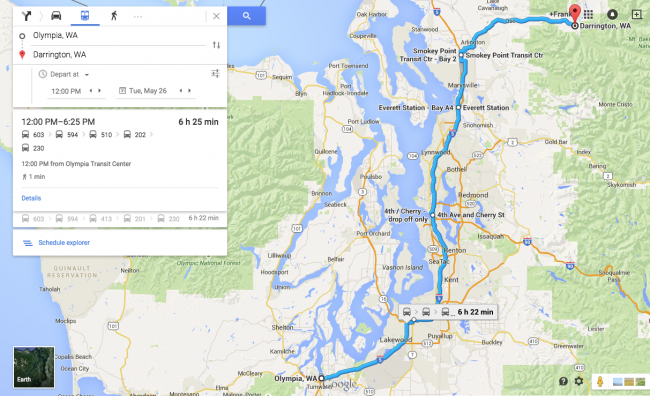 Just 6 hours 22 minutes from Olympia to Darrington