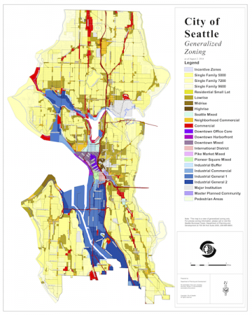Seattle Zoning Map, Single family zones in yellow.