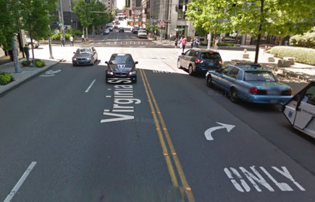 Virginia at 8th Avenue, turning from two-way into one-way. Time for a contraflow transit lane?