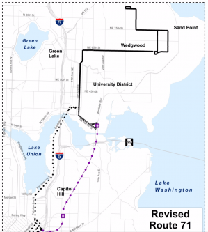 New Route 71, with 30-Minute Service between View Ridge and UW Station