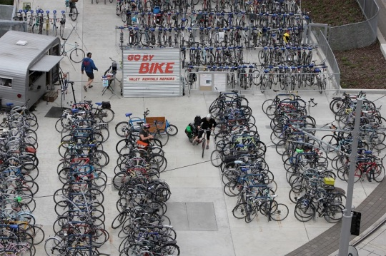 OHSU's Bike Valet at the Aerial Tram on the South Waterfront (Image from BikePortland)