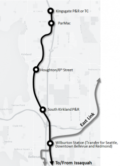 Kirkland's preferred LRT option would have four stations.