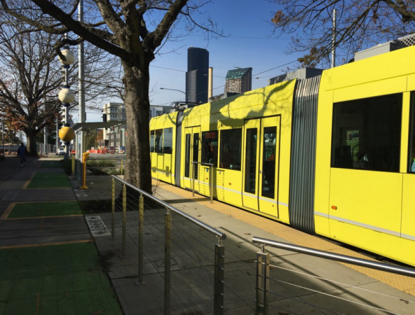 First Hill Streetcar testing at Yesler/Broadway (photo by the author)