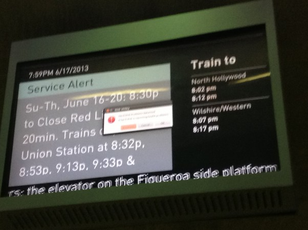 LA Metro's screen before (apologies for the poor quality)