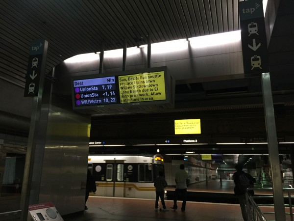LA Metro's screen after