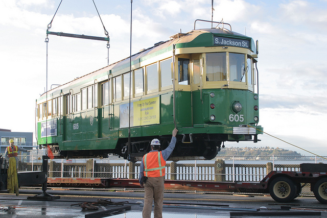 Streetcars Undergoing Maintenance in 2005 (King County – Flickr)