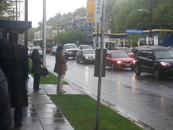 Buses stuck in Interbay without transit priority – Photo by Martin