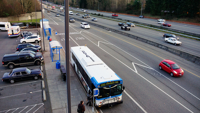 Buses at Canyon Park on I-405