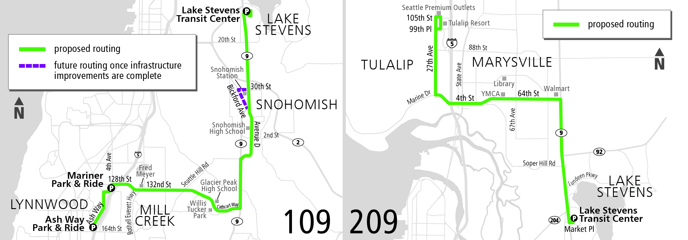 Proposed routes 109 (left) and 209 (right)