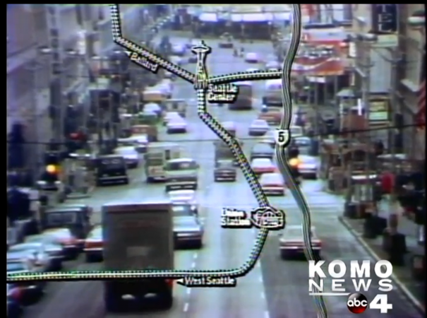 Still from KOMO's 1975 documentary on the future of Seattle transportation.