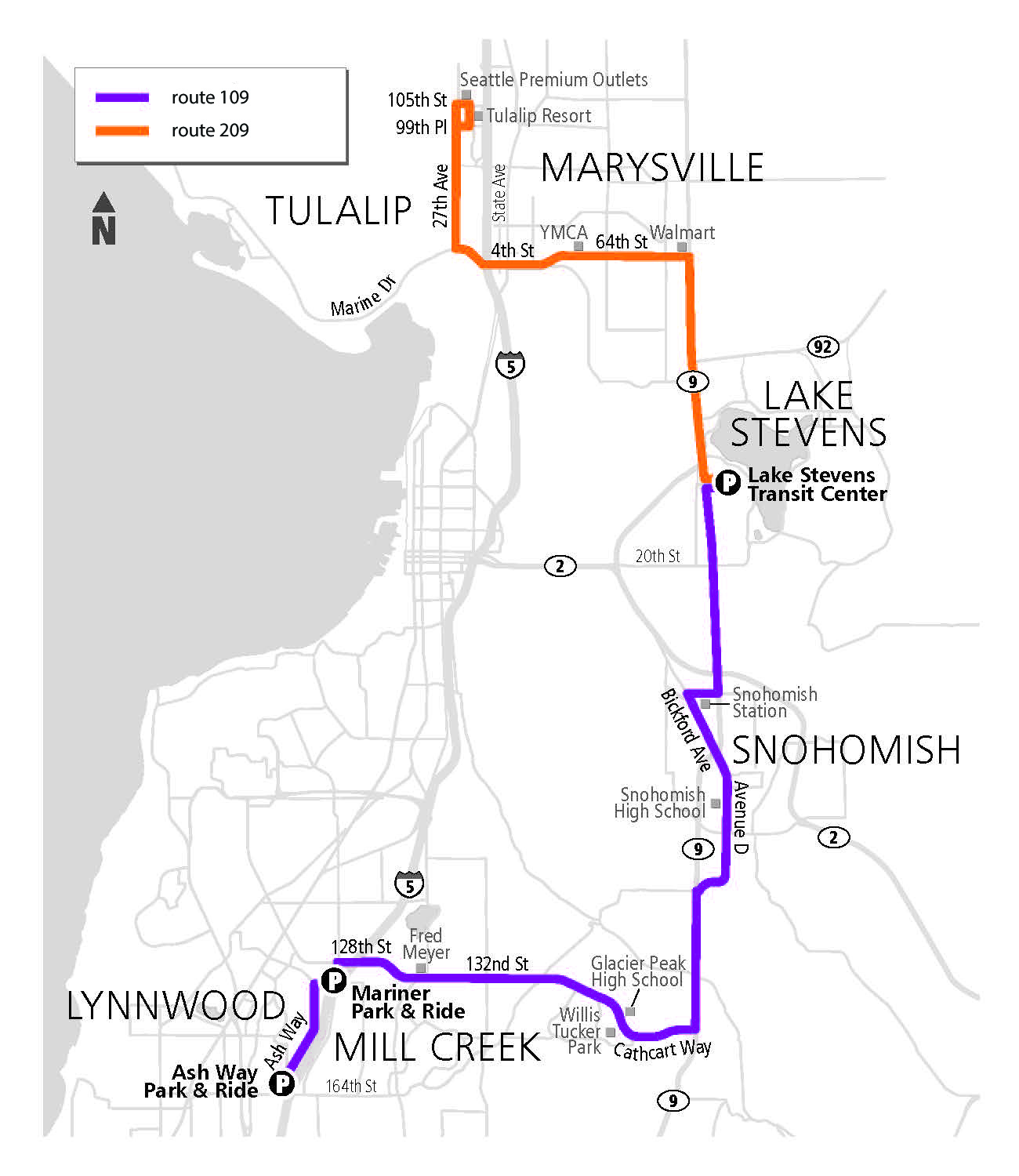 Routes 109 (purple) and 209 (orange) begin service September 11.