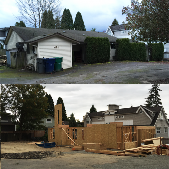 This triplex in Kirkland is being replaced by two single-family homes (photos by author).
