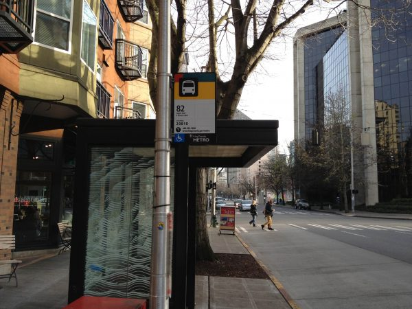 A very lonely bus stop back in 2012. (photo mine)