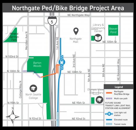 Northgate Ped/Bike Bridge Project Area map