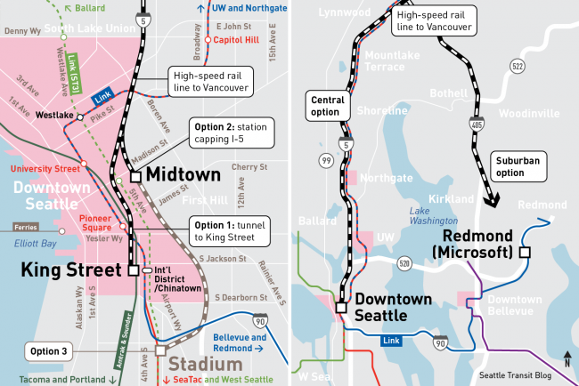 Seattle high-speed rail station options: King Street, Midtown, Redmond