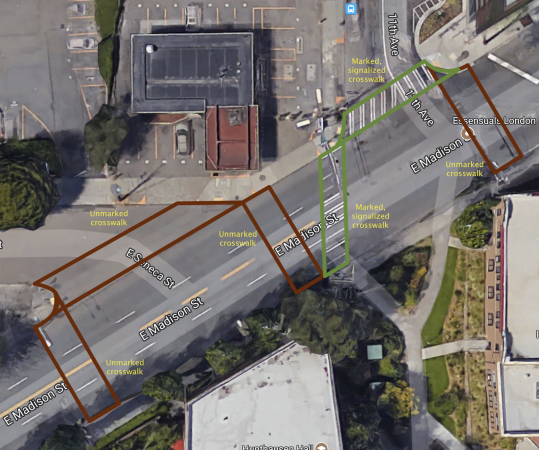 Satellite map of Madison, Seneca, and 11th, with overlay of marked and unmarked crosswalks
