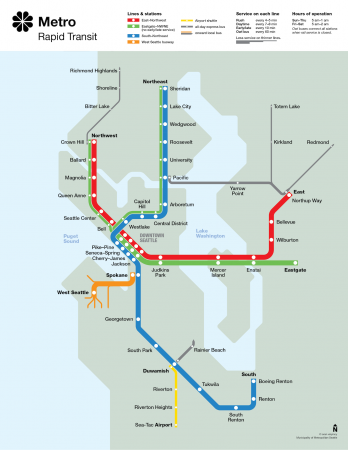 diagram of Seattle rapid transit had it been built