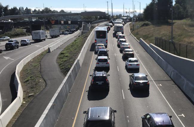 Cars waiting to exit SR-520 at Montlake