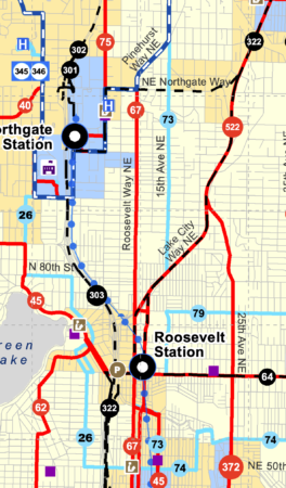 Metro map of the revised network covering areas near Northgate and Roosevelt
