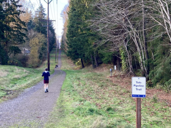 People using the Tolt-Pipeline Trail on a Sunday afternoon as viewed northwest from 124th Ave NE