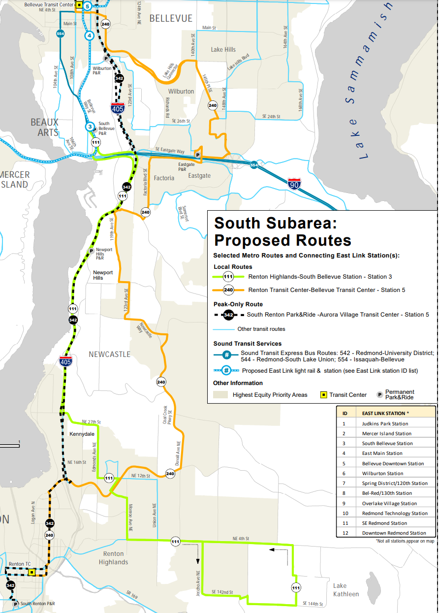 East Link Connections: bus changes in the south subarea