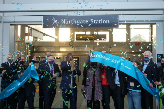 Local leaders, including King County Executive Dow Constantine, Seattle Mayor Jenny Durkan, ST Board Chair Kent Keel, and Sound Transit CEO Peter Rogoff, participated in a ribbon cutting for Northgate Link