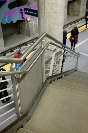 Runnel along stair from Roosevelt station platform