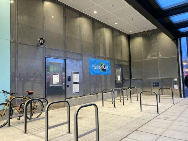 Sheltered bike racks, bike lockers, and bike cage