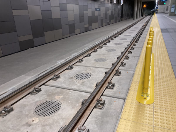 Tracks in U District station are attached to larger slabs than typical